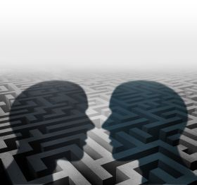 Two heads shadowing over a maze, discussing possible strategies for the building dispute